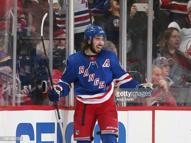 Mika Zibanejad of the New York Rangers reacts after scoring the game winning goal in the third period against the New Jersey Devils at the Prudential...