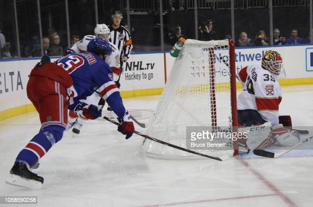 Mika Zibanejad of the New York Rangers scores a shorthanded goal at 310 of the second period against Michael Hutchinson of the Florida Panthers at...
