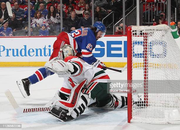 Mika Zibanejad of the New York Rangers scores his hattrick goal at 1524 of the third period against Keith Kinkaid of the New Jersey Devils at the...