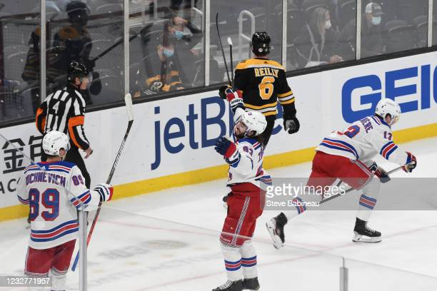 Mika Zibanejad of the New York Rangers scores in the third period against the Boston Bruins at the TD Garden on May 8, 2021 in Boston, Massachusetts.
