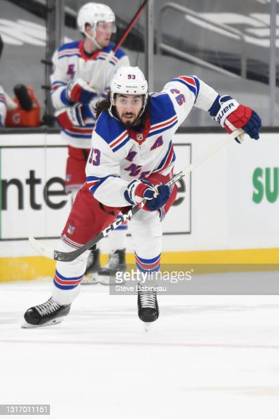 Mika Zibanejad of the New York Rangers skates against the Boston Bruins at the TD Garden on May 8, 2021 in Boston, Massachusetts.