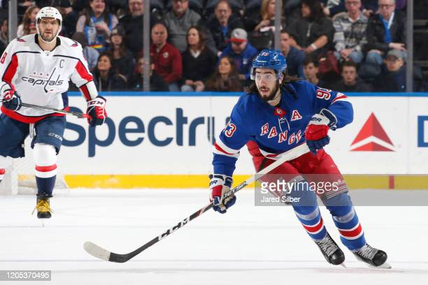 Mika Zibanejad of the New York Rangers skates against the Washington Capitals at Madison Square Garden on March 5 2020 in New York City