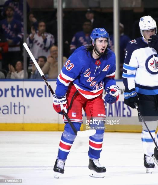 Mika Zibanejad of the New York Rangers skates against the Winnipeg Jets at Madison Square Garden on October 03 2019 in New York City The Rangers...
