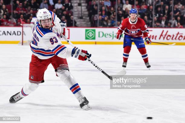 Mika Zibanejad of the New York Rangers takes a shot against the Montreal Canadiens during the NHL game at the Bell Centre on February 22 2018 in...