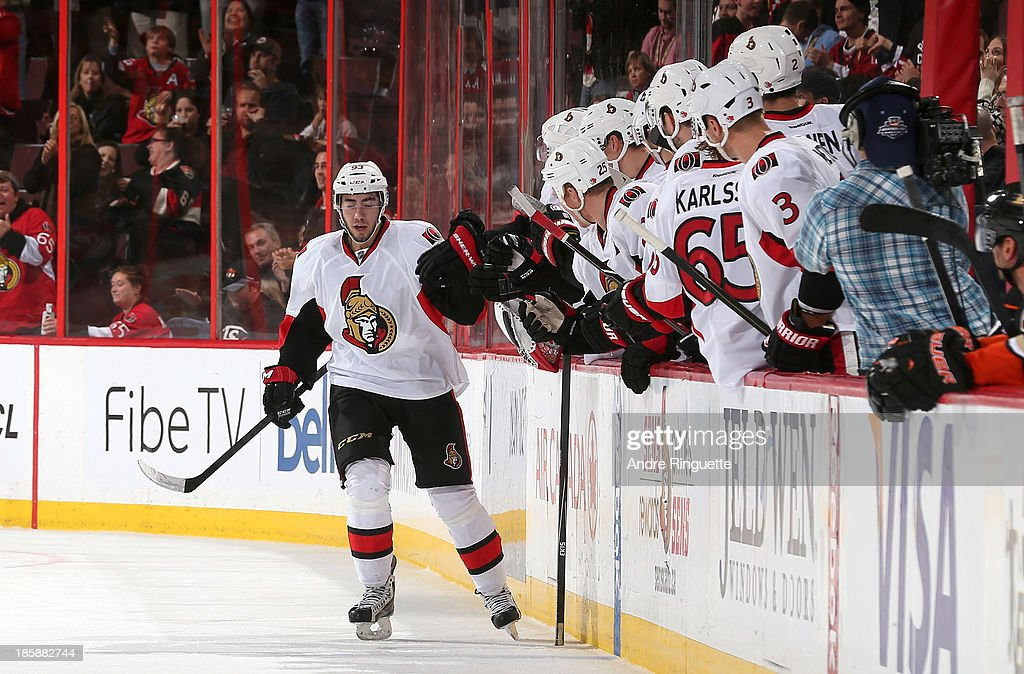 Mika Zibanejad #93 of the Ottawa Senators celebrates his second-period goal against the Anaheim Ducks at Canadian Tire Centre on October 25, 2013 in Ottawa, Ontario, Canada.