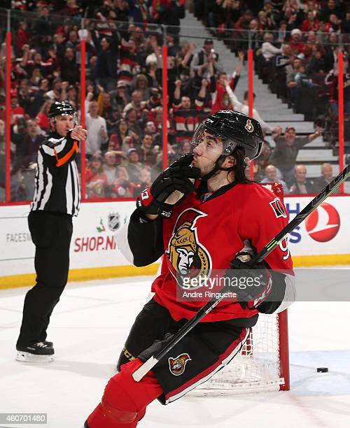 Mika Zibanejad of the Ottawa Senators celebrates his third period goal against the Anaheim Ducks at Canadian Tire Centre on December 19 2014 in...