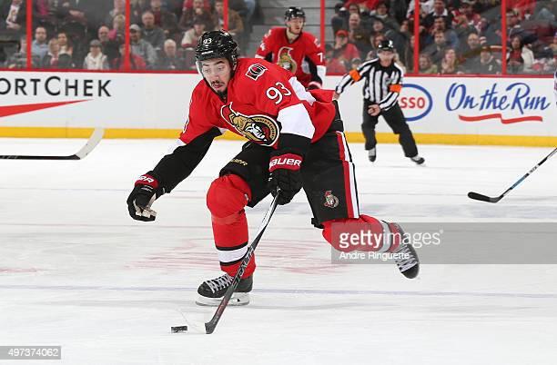 Mika Zibanejad of the Ottawa Senators skates against the New York Rangers at Canadian Tire Centre on November 14 2015 in Ottawa Ontario Canada