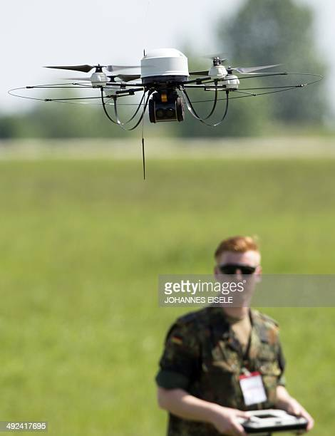 A Mikado drone of German Federal Armed Forces Bundeswehr is operated during the International Air Show ILA in Schoenefeld near Berlin on May 20 2014...