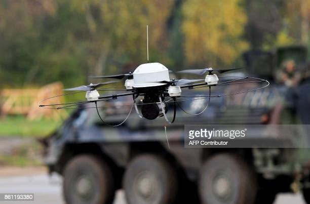 A 'Mikado' electrically powered fourrotor silent flight capable reconnaissance drone of the German armed forces Bundeswehr operates during the...
