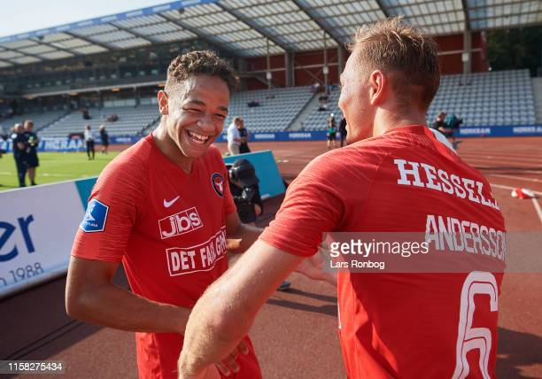 Mikael Anderson and Joel Andersson of FC Midtjylland celebrate after the Danish 3F Superliga match between AGF Aarhus and FC Midtjylland at Ceres...