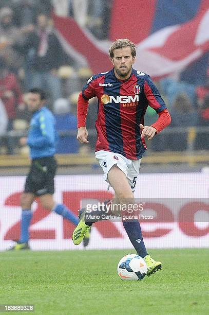 Mikael Antonsson of Bologna FC in action during the Serie A match between Bologna FC and Hellas Verona FC at Stadio Renato Dall'Ara on October 6 2013...