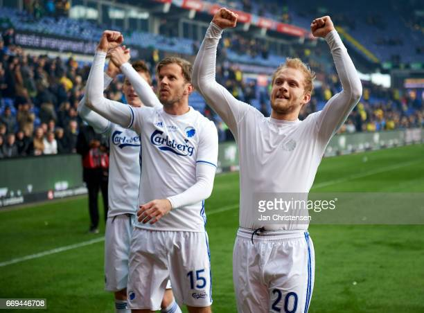 Mikael Antonsson of FC Copenhagen and Nicolai Boilesen of FC Copenhagen celebrating after the Danish Alka Superliga match between Brondby IF and FC...