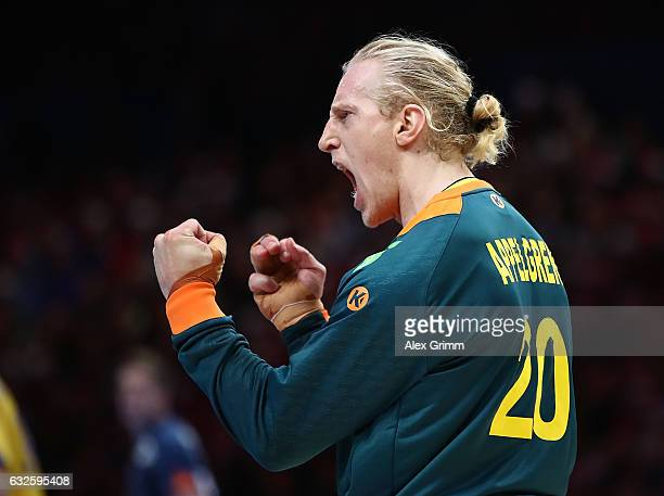 Mikael Applegren of Sweden celebrates during the 25th IHF Men's World Championship 2017 Quarter Final match between France and Sweden at Stade Pierre...