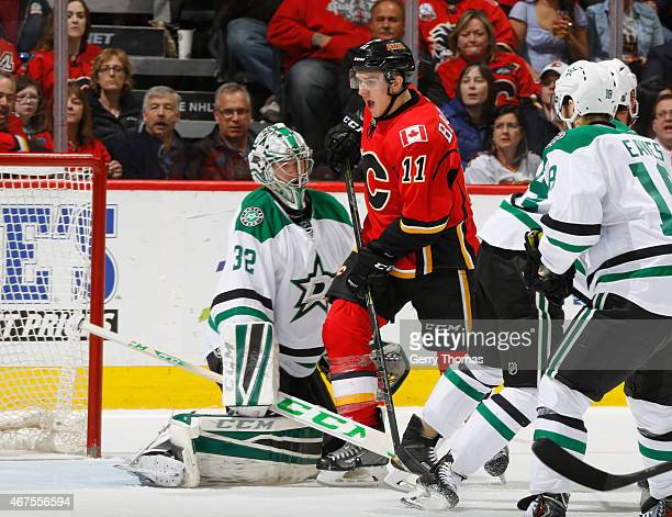 Mikael Backlund of the Calgary Flames is stopped by Kari Lehtonen of the Dallas Stars at Scotiabank Saddledome on March 25 2015 in Calgary Alberta...