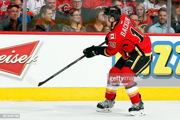 Mikael Backlund of the Calgary Flames skates against the Anaheim Ducks at Scotiabank Saddledome on March 11 2015 in Calgary Alberta Canada The Flames...