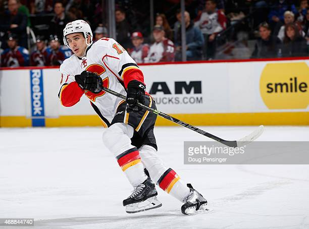 Mikael Backlund of the Calgary Flames skates against the Colorado Avalanche at Pepsi Center on March 14 2015 in Denver Colorado The Avalanche...