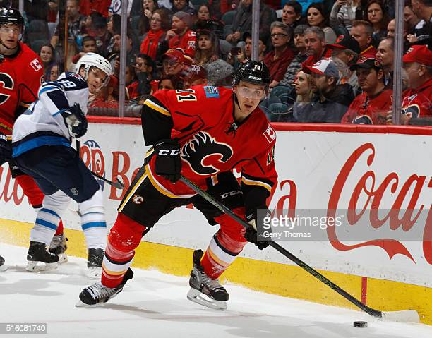 Mikael Backlund of the Calgary Flames skates against the Winnipeg Jets at Scotiabank Saddledome on March 16 2016 in Calgary Alberta Canada