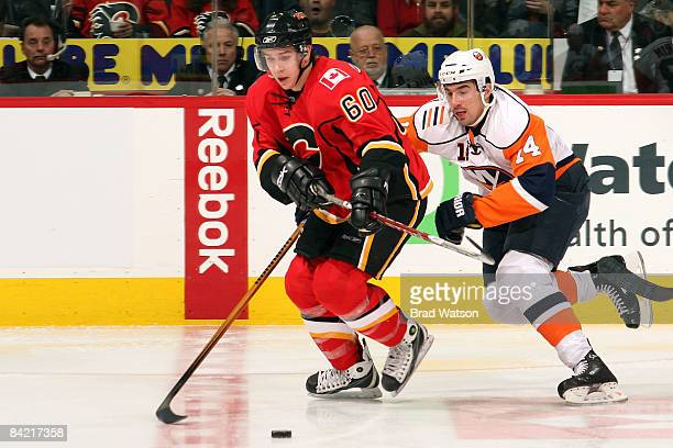 Mikael Backlund of the Calgary Flames skates in his first NHL game against the New York Islanders on January 8, 2009 at Pengrowth Saddledome in...