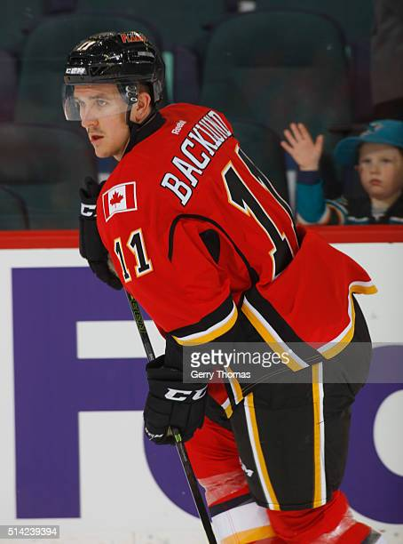 Mikael Backlund of the Calgary Flames skates in warm up prior to the game against the San Jose Sharks at Scotiabank Saddledome on March 7 2016 in...