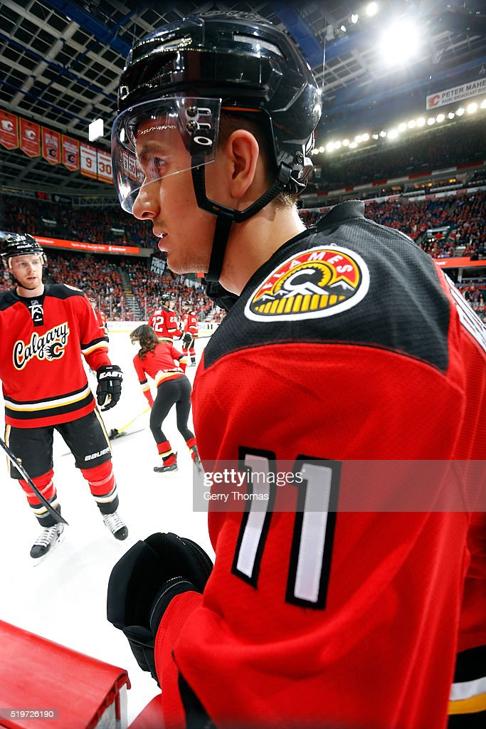 Mikael Backlund #11 of the Calgary Flames skates to the bench during an NHL game against the Vancouver Canucks on April 7, 2016 at the Scotiabank Saddledome in Calgary, Alberta, Canada.