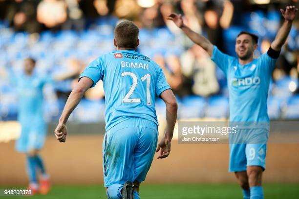 Mikael Boman of Randers FC celebrate after his 10 goal during the Danish Alka Superliga match between Randers FC and OB Odense at BioNutria Park...