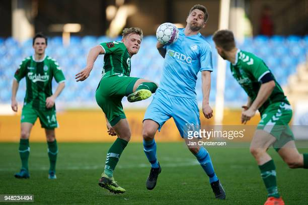 Mikael Boman of Randers FC compete for the ball during the Danish Alka Superliga match between Randers FC and OB Odense at BioNutria Park Randers on...