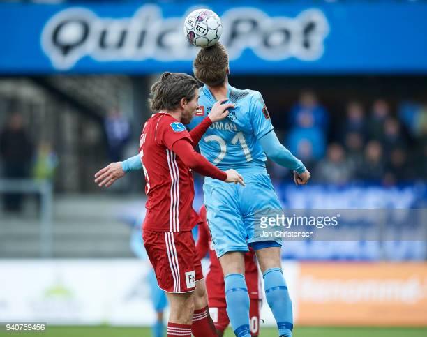 Mikael Boman of Randers FC heading the ball during the Danish Alka Superliga match between Randers FC and Lyngby BK at BioNutria Park Randers on...