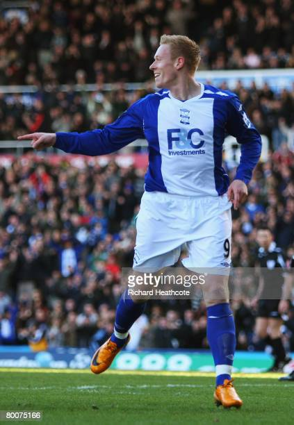 Mikael Forssell of City celebrates his teams opening goal dring the Barclays Premier League match between Birmingham City and Tottenham Hotspur at...