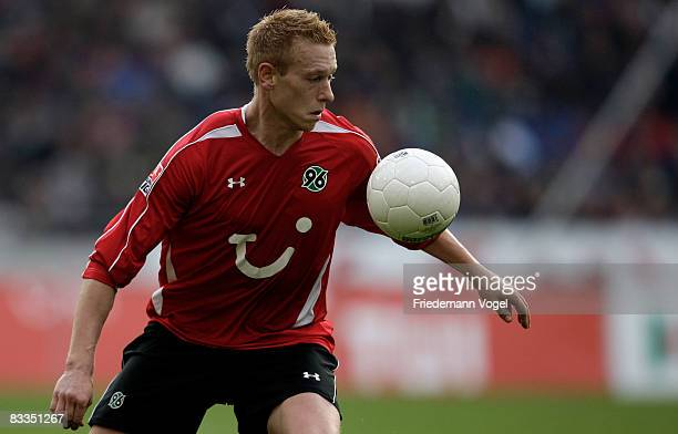 Mikael Forssell of Hannover in action during the Bundesliga match between Hannover 96 and 1899 Hoffenheim at the AWD Arena on October 18 2008 in...