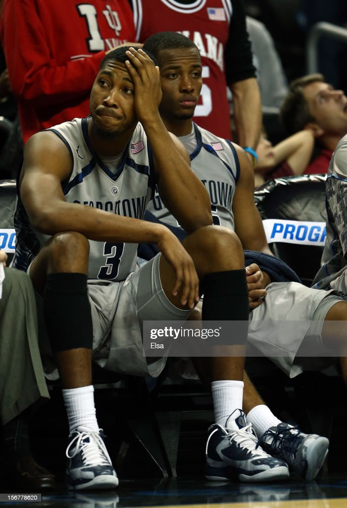 Mikael Hopkins #3 and Jabril Trawick #55 of the Georgetown Hoyas react to the loss during Championship Game of the Legends Classic on November 20,2012 at the Barclays Center in the Brooklyn borough of New York City.The Indiana Hoosiers defeated the Georgetown Hoyas 82-72 in overtime.