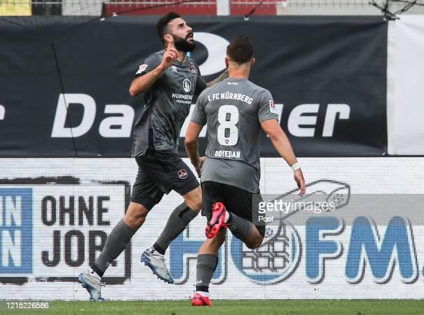 Mikael Ishak of 1. FC Nürnberg celebrates after scoring his team's first goal during the Second Bundesliga match between SSV Jahn Regensburg and 1....