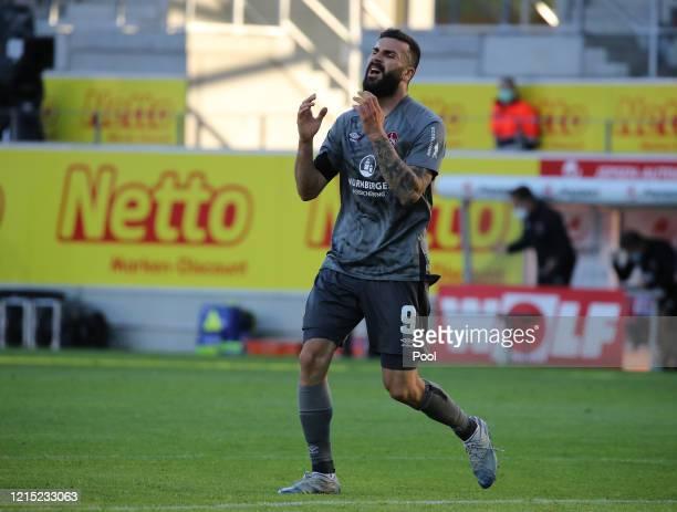 Mikael Ishak of 1. FC Nürnberg reacts during the Second Bundesliga match between SSV Jahn Regensburg and 1. FC Nürnberg at Continental Arena on May...