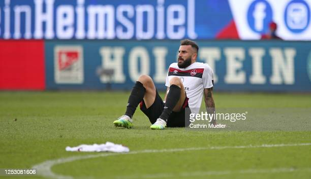 Mikael Ishak of 1. FC Nuernberg reacts during the Second Bundesliga match between Holstein Kiel and 1. FC Nürnberg at Holstein-Stadion on June 28,...