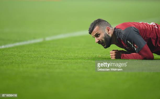 Mikael Ishak of 1.FC Nuernberg lies on the pitch during the Second Bundesliga match between 1. FC Nuernberg and FC Ingolstadt 04 at...