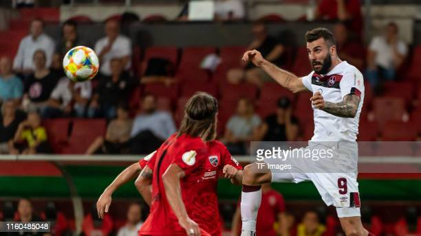 Mikael Ishak of FC Nuernberg controls the ball during the DFB Cup first round match between SV Sandhausen and Borussia Moenchengladbach at Audi...
