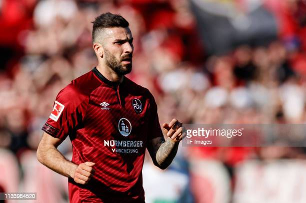 Mikael Ishak of FC Nuernberg looks on during the Bundesliga match between 1. FC Nuernberg and FC Augsburg at Max-Morlock-Stadion on March 30, 2019 in...