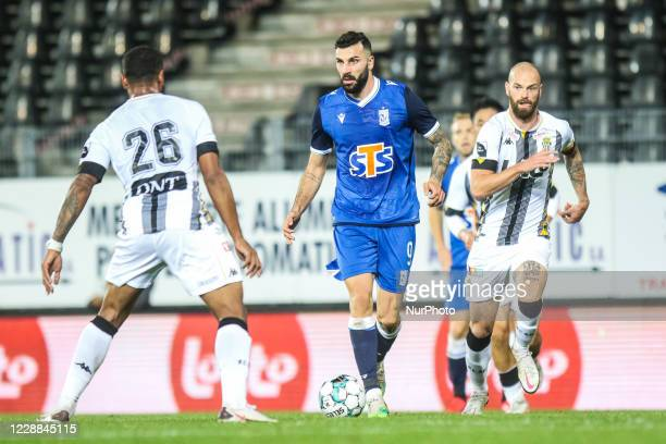 Mikael Ishak of Lech Poznan in action during UEFA Europa LEague Play-off match between Royal Charleroi and Lech Poznan in Charleroi, Belgium on...