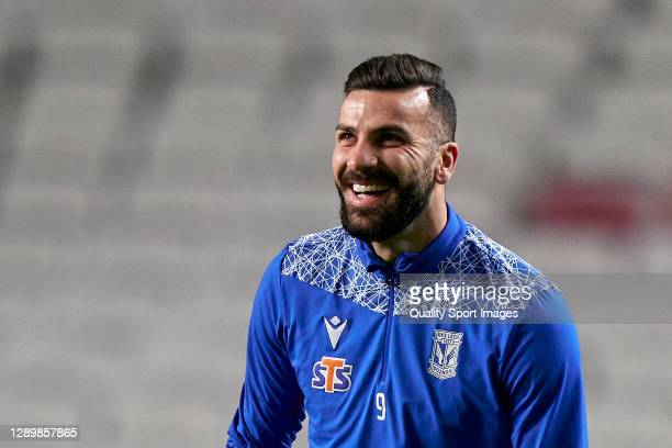 Mikael Ishak of Lech Poznan looks on during the warm up prior to the UEFA Europa League Group D stage match between SL Benfica and Lech Poznan at...
