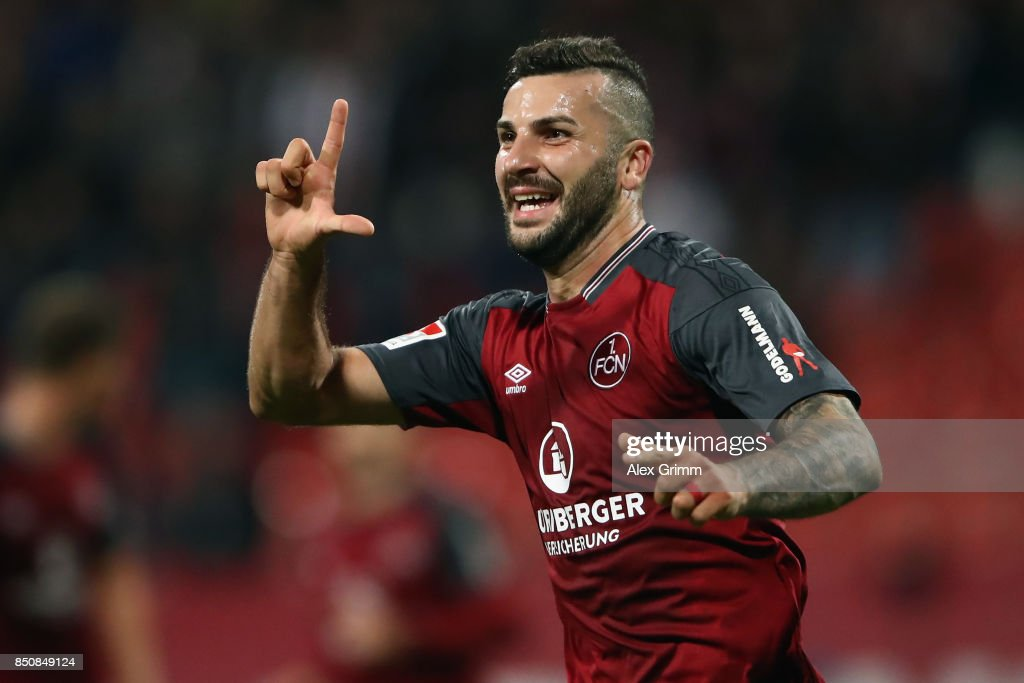 Mikael Ishak of Nuernberg celebrates his team's third goal during the Second Bundesliga match between 1. FC Nuernberg and VfL Bochum 1848 at Max-Morlock-Stadion on September 21, 2017 in Nuremberg, Germany.