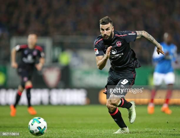 Mikael Ishak of Nuernberg controls the ball during the Second Bundesliga match between Holstein Kiel and 1 FC Nuernberg at HolsteinStadion on April...