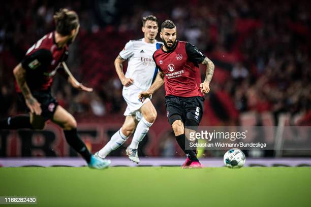 Mikael Ishak of Nuernberg passes the ball during the Second Bundesliga match between 1. FC Nuernberg and Hamburger SV at Max-Morlock-Stadion on...