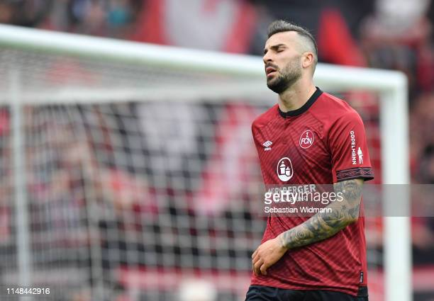 Mikael Ishak of Nuernberg reacts during the Bundesliga match between 1. FC Nuernberg and Borussia Moenchengladbach at Max-Morlock-Stadion on May 11,...