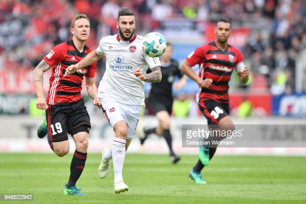 Mikael Ishak of Nuernberg runs after the ball during the Second Bundesliga match between FC Ingolstadt 04 and 1. FC Nuernberg at Audi Sportpark on...