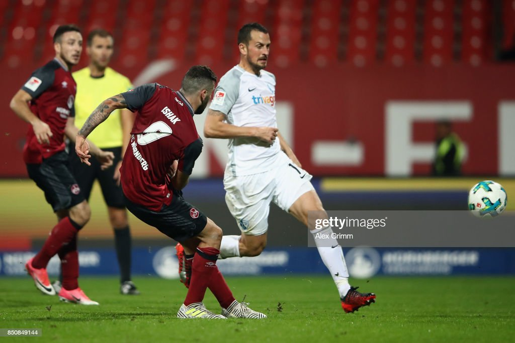 Mikael Ishak of Nuernberg scores his team's third goal during the Second Bundesliga match between 1. FC Nuernberg and VfL Bochum 1848 at Max-Morlock-Stadion on September 21, 2017 in Nuremberg, Germany.
