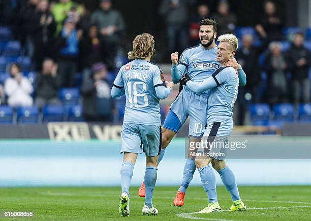 Mikael Ishak of Randers FC and Marvin Pourie of Randers FC celebrates after scoring their second goal during the Danish Alka Superliga match between...