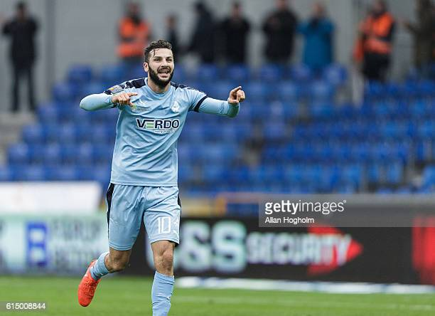 Mikael Ishak of Randers FC celebrates after scoring their third goal during the Danish Alka Superliga match between Randers FC and OB Odense at...