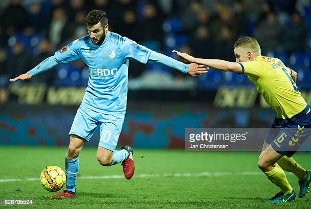 Mikael Ishak of Randers FC compete for the ball during the Danish Alka Superliga match between Randers FC and Brondby IF at BioNutria Park Randers on...