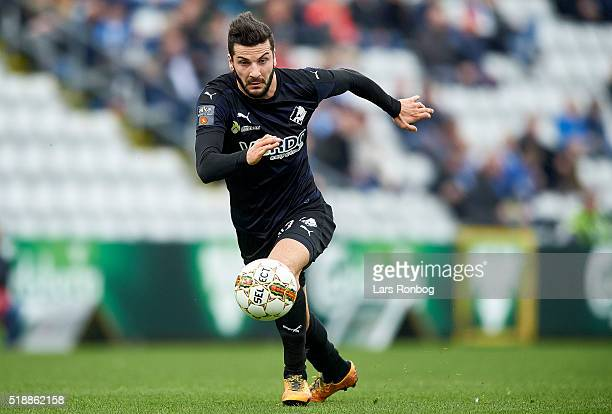 Mikael Ishak of Randers FC in action during the Danish Alka Superliga match between OB Odense and Randers FC at TreFor Park on April 3 2016 in Odense...