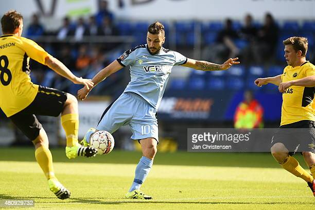 July 16: Mikael Ishak of Randers FC in action during the UEFA Europa League match between Randers FC and IF Elfsborg at AutoC Park Randers on July...