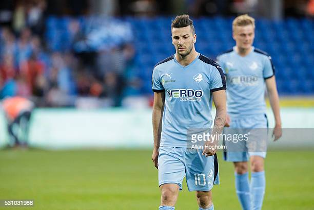 Mikael Ishak of Randers FC looks dejected after the Danish Alka Superliga match between Randers FC and Brondby IF at BioNutria Park on May 12 2016 in...